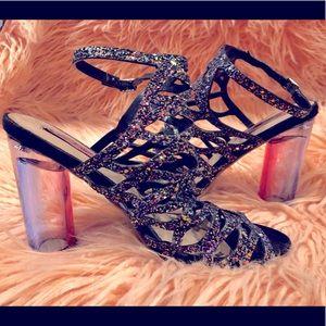 Betsey Johnson Greek Strap Glitter Heels Size 9